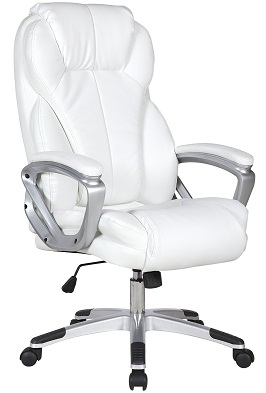 2xhome - White Deluxe Professional PU Leather Tall 2