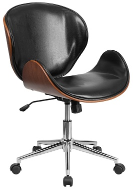 Flash Furniture Mid Back Natural Wood Swivel Conference Chair