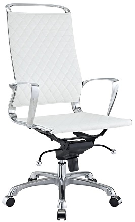 LexMod Vibe Modern Leather Highback Office Chair, White