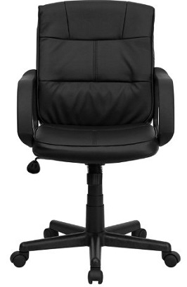Mid-Back Black Leather Swivel Task Chair 3