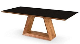 Uber Modern 79 Walnut Executive Desk or Conference Table with Black Glass Top 3