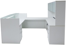 White & Woodgrain U-Shaped Reception Desk 2