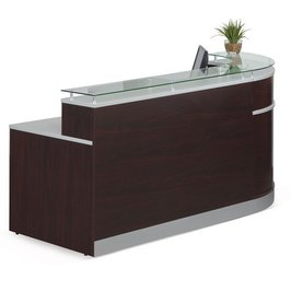 NBF Signature Series Esquire Collection Glass Top Reception Desk with Mahogany Laminate Finish