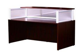 Boss Plexiglass Reception Desk, Mahogany