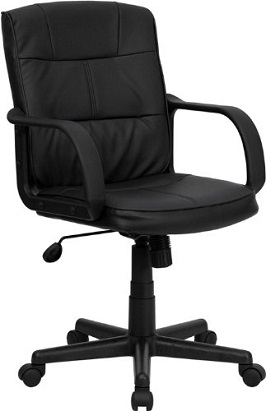 Mid-Back Black Leather Swivel Task Chair