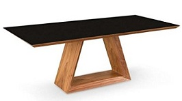 Uber Modern 79 Walnut Executive Desk or Conference Table with Black Glass Top