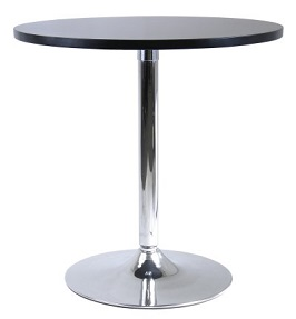 Winsome Wood 29 Round Dining Table; Black w-Metal Leg