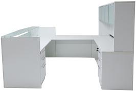 White & Woodgrain U-Shaped Reception Desk 2