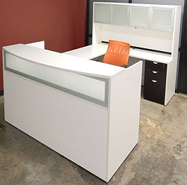 White & Woodgrain U-Shaped Reception Desk