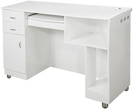 Back View of white reception office desk