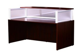 Boss Plexiglass Reception Desk, Mahogany