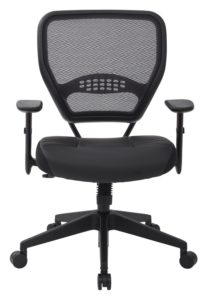 SPACE Seating Professional AirGrid Dark Back and Padded Black Eco Leather Seat - front
